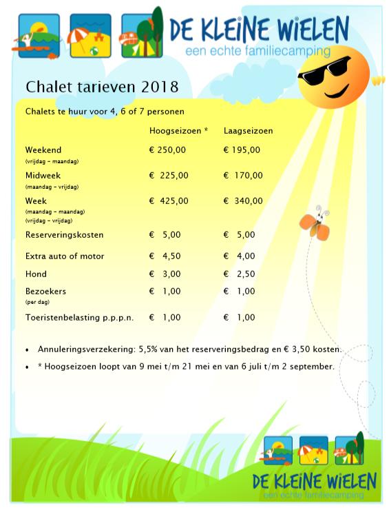 Chalet tarieven 2018
